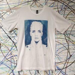 Annie Lennox graphic tee blue watercolor white tee